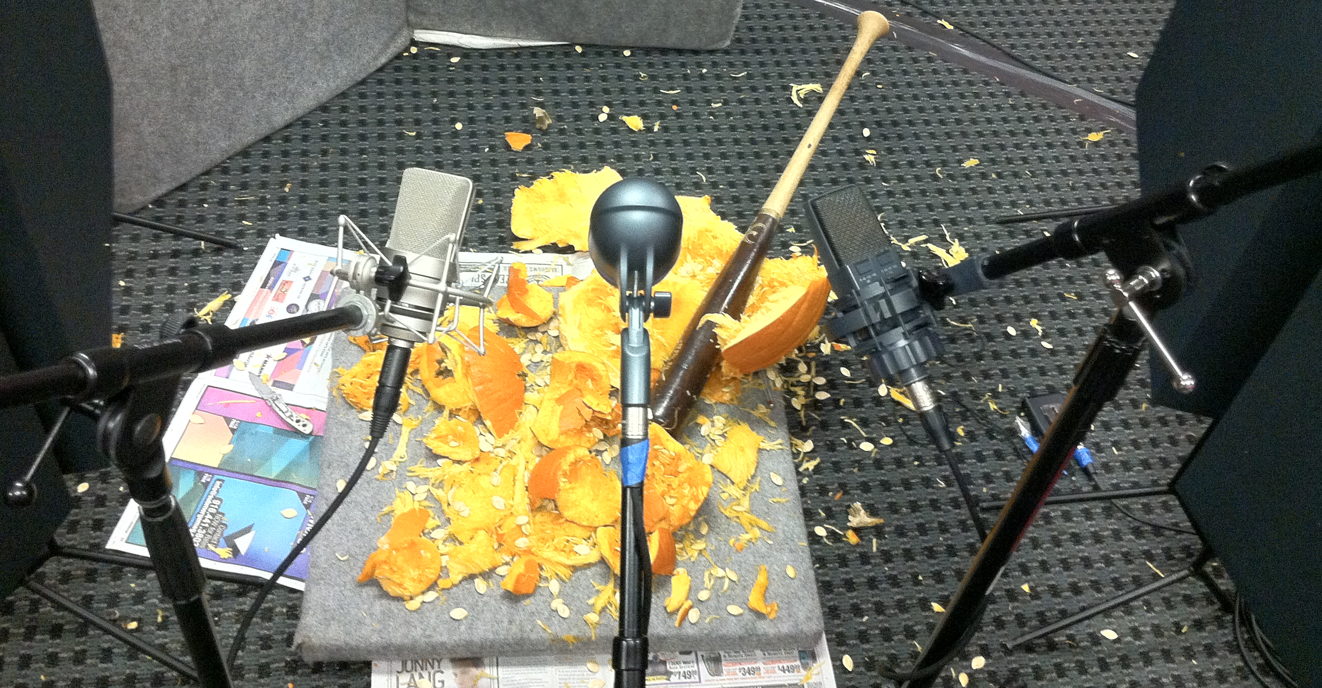 The aftermath of the pumpkin smashing.