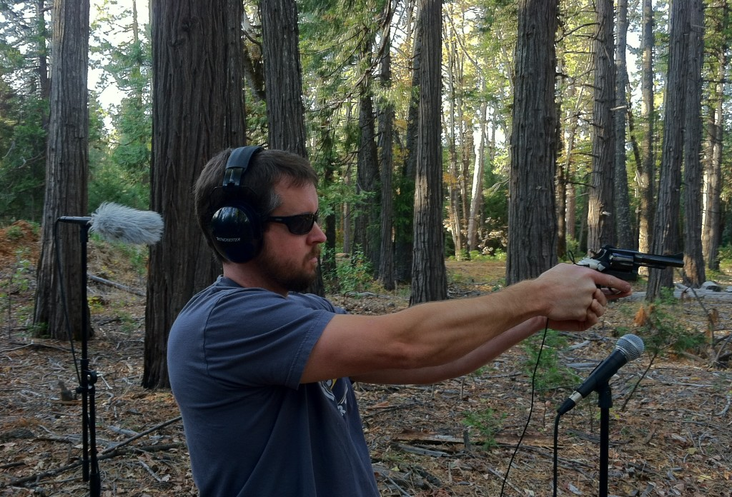Here is Adam shooting a 38. If you look closely you can see the tape holding the lav onto the gun.